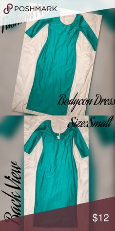 Fashion Nova Body Con Dress Body con dress size small (4-6) Silky green stretchy fabric Fashion Nova Dresses Midi