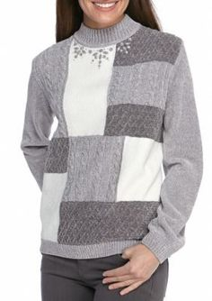 Alfred Dunner Gray Northern Light Colorblock Sweater