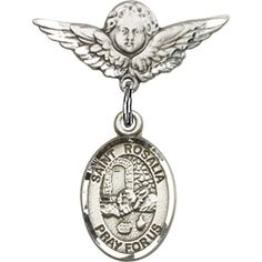 Sterling Silver Baby Badge with St. Rosalia Charm and Angel w/Wings Badge Pin 7/8 X 3/4 inches *** Click on the image for additional details. (This is an Amazon Affiliate link and I receive a commission for the sales)