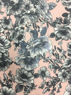Image of Soft Pink Floral French Terry Spandex