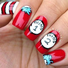 Dr. Seuss cat in the hat nails | The nail styles I will one day ...