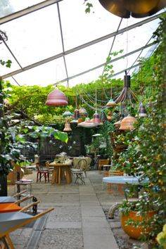 My dream home has a greenhouse attached to pat of the kitchen. So a walk-in greenhouse attachment. I like the idea of adding a little cafe to the greenhouse. how nice.