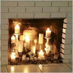 Τζακι Candles In Fireplace Small Ideas Brick Surrounds