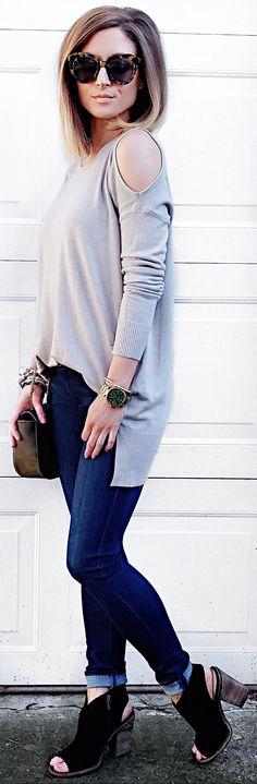 #winter #fashion /  Grey Open Shoulder Knit / Navy Skinny Jeans / Black Open Toe Suede Booties
