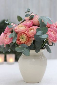 A Bunch for the Weekend-# 65-Pink Ranunculus and Eucalyptus-Ingrid Henningsson-Of Spring and Summer