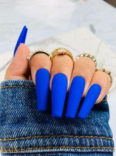 Cobalt Blue Nails, Blue Matte Nails, Purple Acrylic Nails, Baby Blue Nails, Blue Coffin Nails, Acrylic Nails Coffin Short, Square Acrylic Nails, Summer Acrylic Nails, Black And Blue Nails