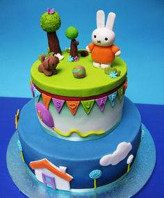 Miffy Cake, Piece Of Cakes, Cute Cakes, Fondant Cakes, 3rd Birthday, Cake Toppers, Good Food, Bolo Fake, Babyshower
