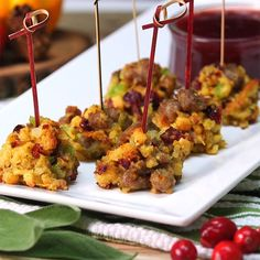 The Perfect Thanksgiving Appetizer: Sausage And Stuffing Balls With Cranberry Dipping Sauce - Shared