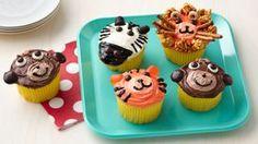 Minion Cupcakes Recipe - BettyCrocker.com Cupcakes Safari, Farm Animal Cupcakes, Fancy Cupcakes, Kid Cupcakes, Birthday Cupcakes, Cupcake Cakes, Tiger Cupcakes, Circus Cupcakes, Minion Cupcakes