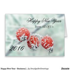 Happy New Year - Business/Corporate - Red Berries Greeting Card