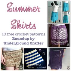 Roundup: 10 free crochet patterns for summer skirts, curated by Underground Crafter | This roundup includes beach cover-ups, convertible skirts, and lacy skirts -- all perfect for summer!
