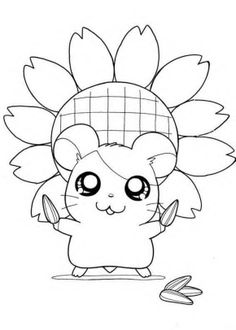 Sunflower Hamtaro Coloring Pages