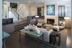 Amanda Webster Design: Modern Waterfront  Living Room Interior Design Renovation / Photo: Neil Rashba