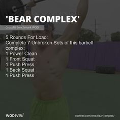 5 Rounds For Load: Complete 7 Unbroken Sets of this barbell complex:; 1 Back Squat; Crossfit Barbell, Wods Crossfit, Crossfit At Home, Wod Workout, Cycling Workout, Workout Ideas, Bear Complex Crossfit, Conditioning Workouts, Back Squats
