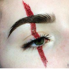 vertical red line Makeup Inspo, Makeup Art, Beauty Makeup, Eye Makeup, Hair Makeup, Festival Makeup, Fantasy Makeup, War Paint, Face Art