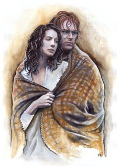 Jamie and Claire // Watercolour painting inspired by the Outlander TV series.