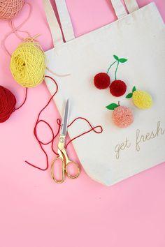 Embellished embroidered pom pom fruit tote bag DIY tutorial.