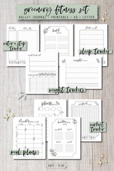 Bullet Journal FITNESS Set of printable planners – Insert templates Planner Inserts, Planner Template, Printable Planner, Printables, Bullet Journal Fitness, Cactus, Printable Workouts, Motivation, Fitness Tracker