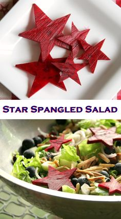 Star Spangled Salad Recipe - This healthy patriotic salad with beet stars is versatile for any diet need, from #vegan to low carb and #glutenfree.