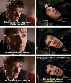 the Doctor visits Sherlock, only to find he's changed since John moved away with Mary. I NEED a fic of this. Sherlock Fandom, Sherlock Holmes, Sherlock Humor, Virginia Woolf, Superwholock, Fandom Crossover, Fandoms Unite, Torchwood, Johnlock