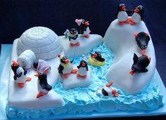 Winder Wonderland Cake, Pinguins, igloo