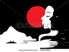 Couple in love on the beach. Sea landscape with mountains and red sun and the silhouette of the ship. Optical illusion, negative space. Illustration in op art style.