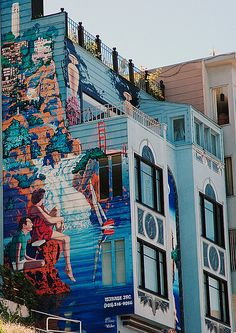 Coastline mural on San Francisco house.