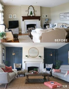 Beautiful family room makeover - before & after!