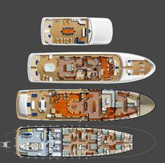 The Bray 42 metre Ocean Motor Yacht Layout