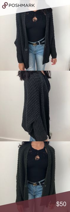 Free People Knit Cardigan - Comes in 2 Colors super thick and warm but casual knit cardigan. super easy to wear. I have it in 2 colors - charcoal and army green. Both by freepeople, i loved it so much I bought in three different colors at the time. Free People Sweaters Cardigans