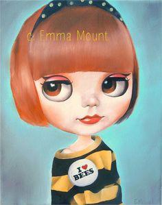 Blythe Doll art print I heart bees big eyed art by EmmaMount