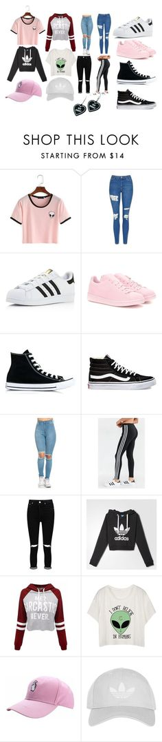"""High School Outfits"" by kpoptrash2233 on Polyvore featuring Topshop, adidas, adidas Originals, Converse, Vans, Boohoo and Witch Worldwide"