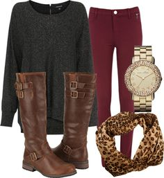 casual comfort- oversized grey long sweater, red wine skinny jeans, cheetah infinity scarf, gold faced diamond watch, and tall riding boots with buckles