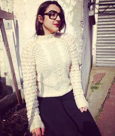 Vintage Knitted Creme highneck jumper  small/medium de la boutique JoliParisRetro sur Etsy