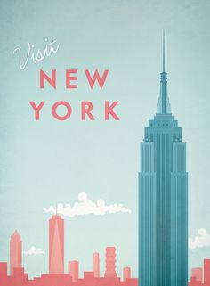 Vintage travel poster of New York City, New York. An original illustration for Travel Poster Co. by Henry Rivers.