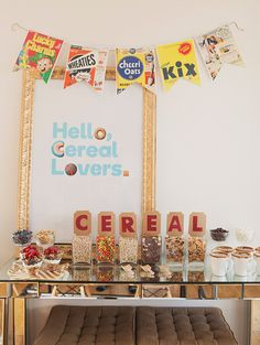 cereal bar... great for a sleepover... LOVE the cereal box banner and cereal box placemats