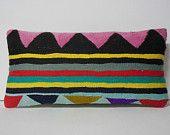 ethnic home decor pink black yellow Kilim Pillow Throw Pillow kilim cushion lumbar pillow kilim rug pillow cover decorative throw turkish