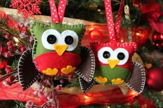 Felt Owl Plush Ornaments - Two Little Owls ready for Christmas - Christmas Decor. $18.00, via Etsy.