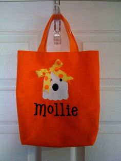 Adorable Trick or Treat Halloween Bag with Ghost by TaDaDesignsInc