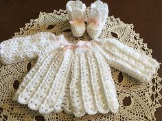 Baby sweater, baby booties, white crochet sweater and booties by OnceUponARoll, $39.00 USD
