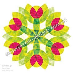 Hemp Flower • freestanding, round and foldable greeting-card for standard envelopes • cc153.05 • #Karte #Dekoration #Mandala #rund #Papier  www.centuryo.com