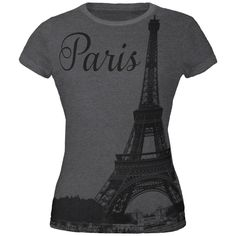 Paris Eiffel Tower All Over Dark Heather Juniors Soft T-Shirt