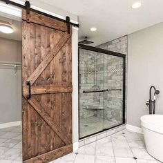 Next bedroom, bathroom barn door, country master bedroom, bedroom decor, . Barn Door Baby Gate, Diy Barn Door, Baby Door, Bathroom Barn Door, Bathroom Interior, Country Master Bedroom, Best Bathroom Designs, Interior Barn Doors, Amazing Bathrooms