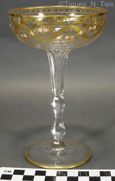 Antique Bohemian Gold Enameled Cut Stem Tall Champagne Crystal Wine Glass (GG)