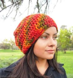 Slouchy beanie hat - MAPLE LEAF - Red/Orange/Yellow/Green - chunky - crochet - womens Winter Autumn accessories - Wool Woolen