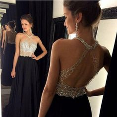 Long prom dress black prom dress, open back prom with Halter Neckline – BBtrending