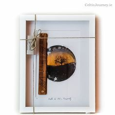 Handmade. Ogham wish ( prosperity) pyrographed in wood and framed