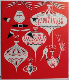 1950s Mid Century Modern Santa Tree Ornaments Vintage Christmas Card