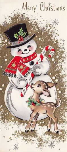 Details about Vintage Christmas Greeting Card Candy Cane - Christmas T Shirt - Ideas of Christmas T Shirt - Vintage Greeting Card Christmas Cute Snowman Deer Reindeer Candy Cane Vintage Christmas Images, Old Christmas, Old Fashioned Christmas, Christmas Scenes, Retro Christmas, Vintage Holiday, Christmas Snowman, Christmas Crafts, Christmas Decorations