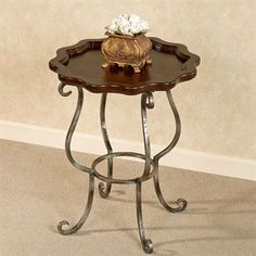 Minerva Scalloped Round Accent Table